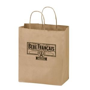 "Natural Kraft Paper Shopper Tote Bag (8 1/4""x4 3/4""x10 1/4"") - Flexo Ink"