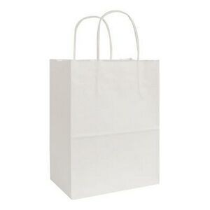 "White Kraft Shopping Bag (8"" x 4 3/4"" x 10 1/2"")"